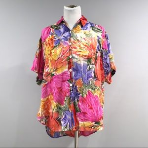 Vintage Express Floral Top Womens XS Semi Sheer